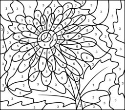 printable color by number flowers gerbera coloring page printables apps for kids