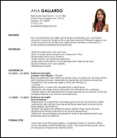 modelo resume usa modelo curriculum vitae profesor de lengua extranjera
