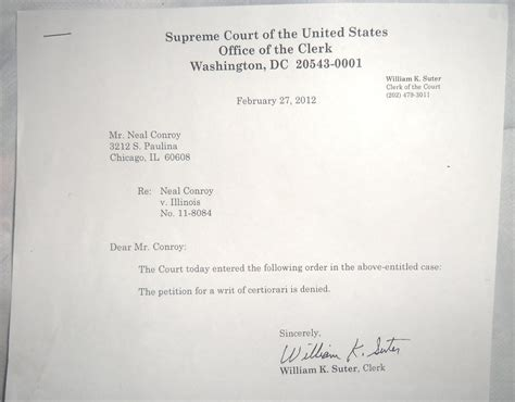 Rejection Letter For Venue U S District Court