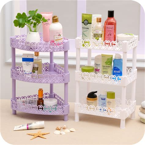 Desk Shelf Organizer Diy 3 Layers Plastic Desk Storage Rack Wall Corner Shelf Organizer Bathroom Debris Shelves Home