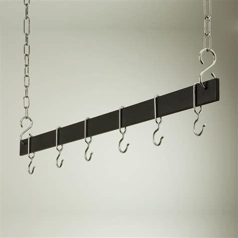Pot Rack Hanger black and chrome hanging bar pot rack pot racks at hayneedle