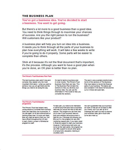 printable doc simple business plan template