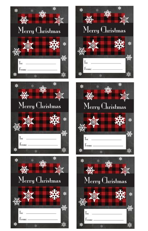 plaid christmas gift tag printable crafts gardening