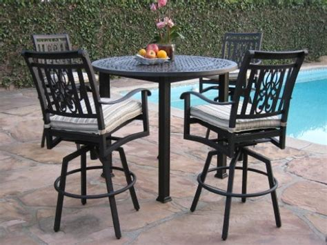 Patio Bar Table Set Cbm Heaven Collection Outdoor Cast Aluminum Patio Furniture 5 Bar Stool Table Set With All
