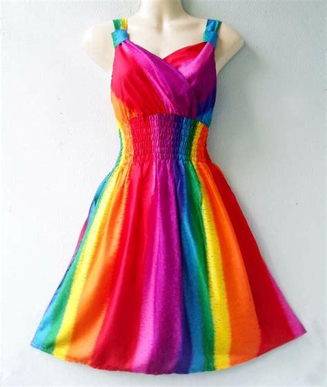 rainbow colored dresses rainbow knee length sleeveless summer rayon sundress new