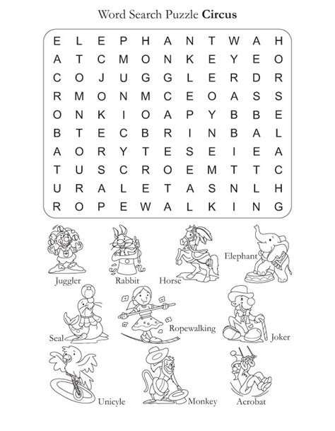 printable circus activity sheets word search puzzle circus download free word search