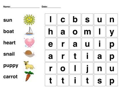 Picture word puzzle for kindergarten students