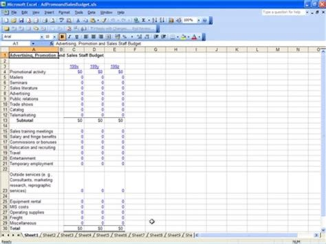 sales budget template excel promotion and sales budget promotion and sales budget