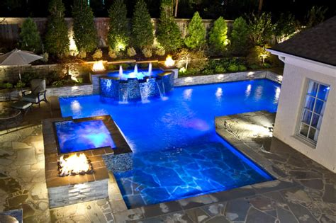 Backyard Resorts Pools And Spas Collierville Modern Geometric Pool Spa Outdoor Living