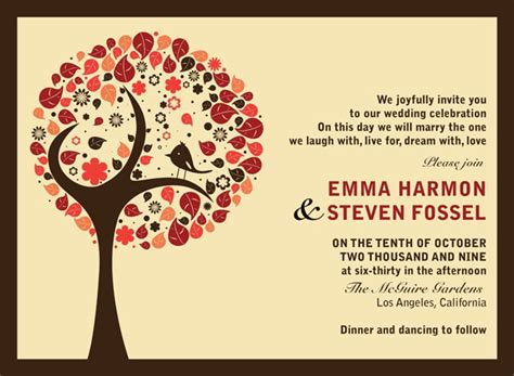fall wedding invite wording fall wedding invitations ideas for your autumn weddings