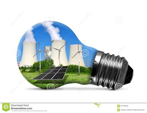 solar panel light bulb nuclear power plant with solar panel and wind turbines in