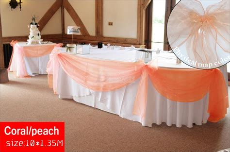 simply lovely table coarl pink and green table new color coral peach organza 10m 1 35m top table swags