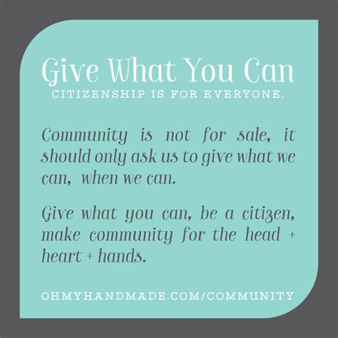 what can you give a for give what you can why community is not for sale citizenship is for everyone oh