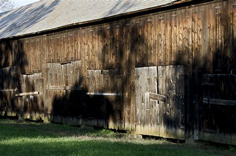 Tobacco Shed Ct by Shadowed Tobacco Barn In Rural Connecticut Photograph By
