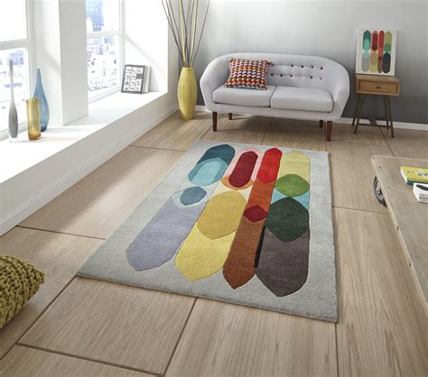 Karpet Rug Persegi Blend S designer wool blend rug inaluxe bold multi coloured large modern tufted mat ebay