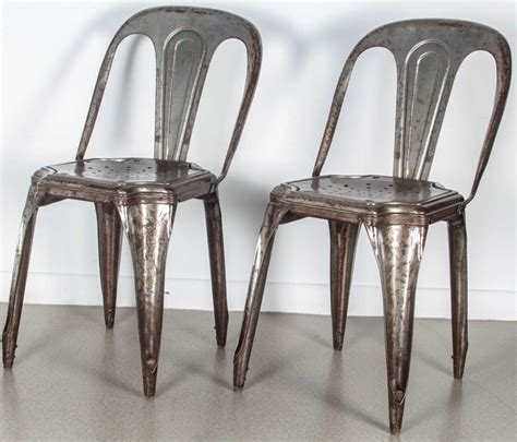 Metal Stacking Chairs by Set Of 4 Metal Stacking Chairs By At 1stdibs