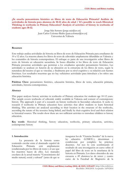 (PDF) ¿Se enseña pensamiento histórico en libros de texto