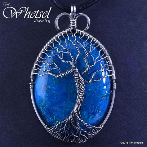 sterling silver tree of wire wrapped blue orgonite