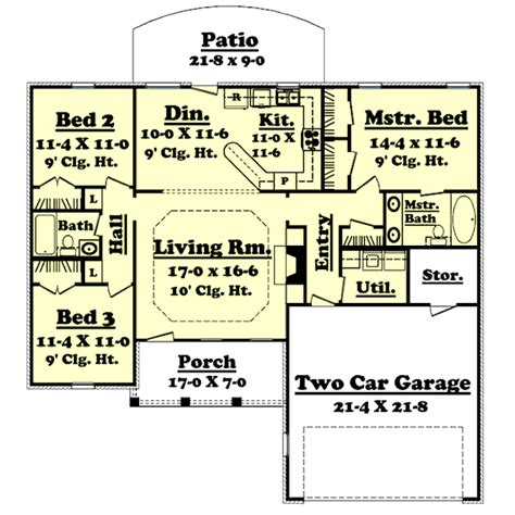 1400 sq ft house plans ranch style house plan 3 beds 2 baths 1400 sq ft plan 430 10