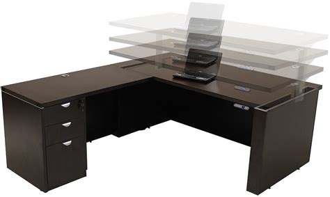 adjustable height u shaped executive office desk in mocha