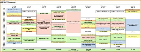 travel itinerary template excel online calendar templates