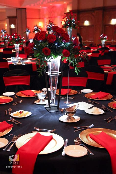 table decor items black tie motown event with classic red rose centerpiece