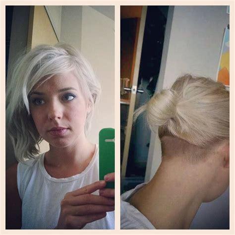 blonde bob undercut nape undercut and some silvery platinum hair