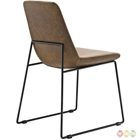 Leather Side Chair Invite Modernistic Padded Faux Leather Side Chair With
