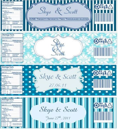 water bottle labels now with templates wedding blue