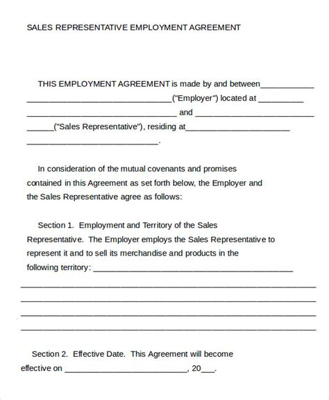sales rep contract template employment agreement template 9 free sle exle