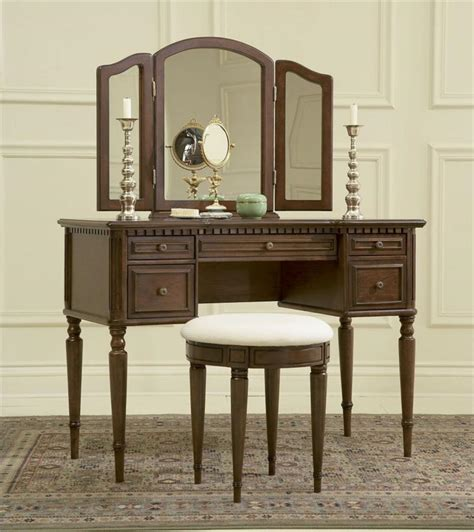 vanity with mirror and bench vanity table