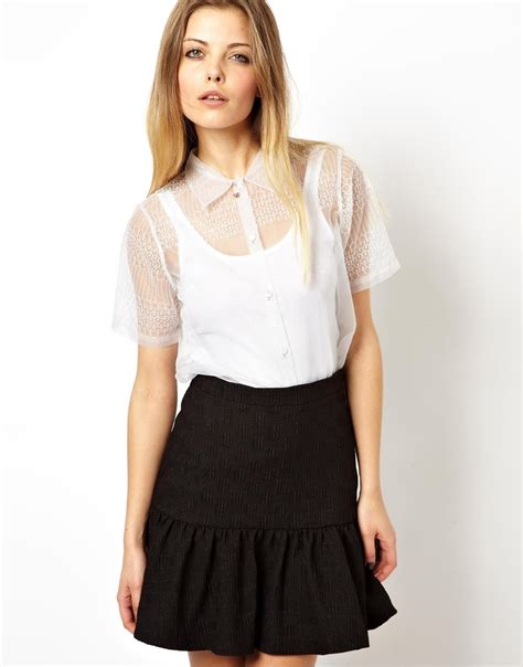 Blouse Premium 32 asos premium blouse with ethereal embroidery in white lyst