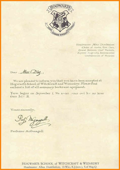 Hogwarts Acceptance Letter Customizable 12 Customizable Hogwarts Acceptance Letter Template Cashier Resumes