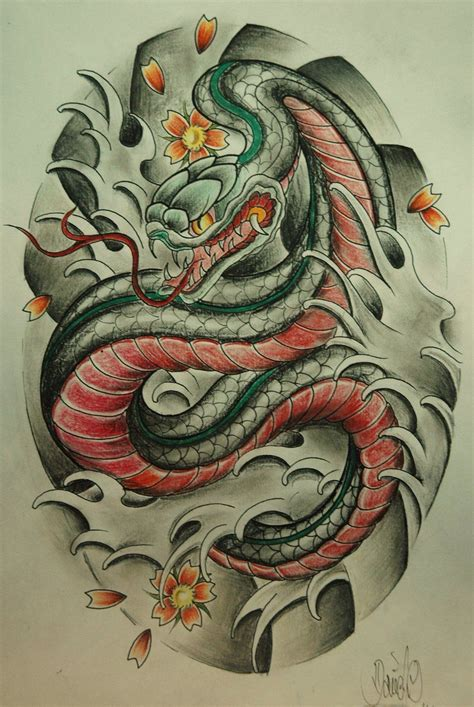neo japanese tattoo neo snake sketch search printme