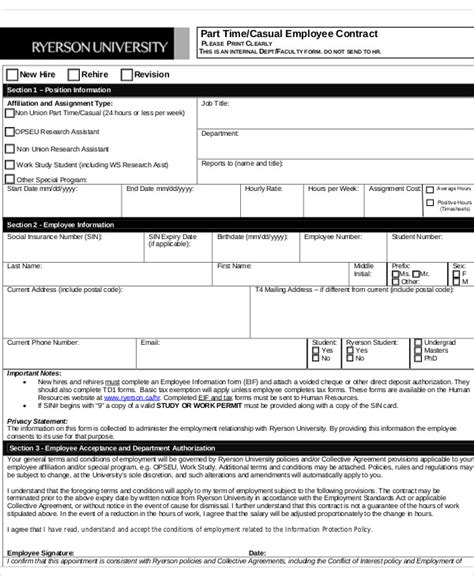casual employment contract template 7 employee contract templates free sles exles
