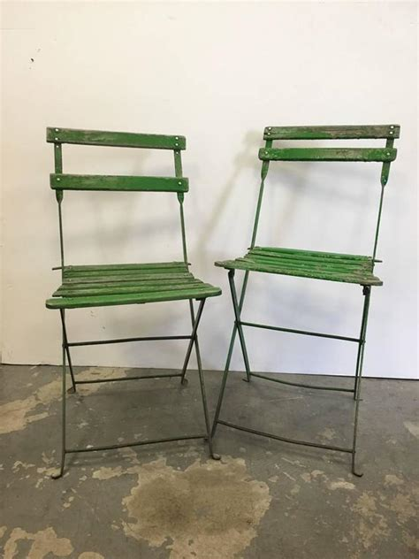 Green Bistro Chairs Set Of Vintage Green Bistro Chairs For Sale At 1stdibs