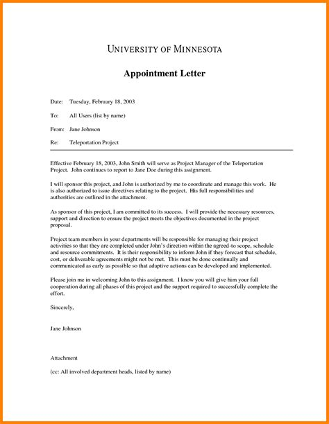 Letter Certificate Of Appointment 9 A Letter Of Appointment Day Care Resume