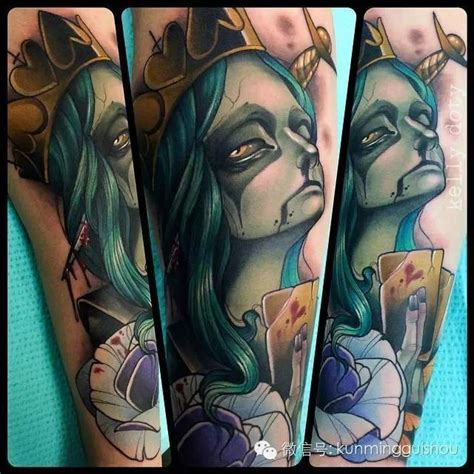 cartoon witch tattoo cartoon style painted and colored evil witch queen tattoo