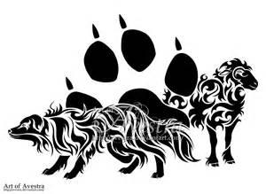 Australian shepherd dog and sheep tribal tattoo by avestra on