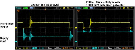 scope capacitor effect driver severe ringing when high side mosfet in half bridge circuit switches on electrical