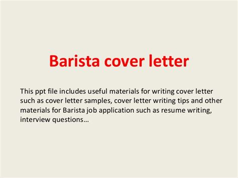 Cover Letter For Barista Barista Cover Letter