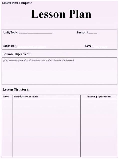 direct interactive lesson plan template free printable lesson plan template word format sle
