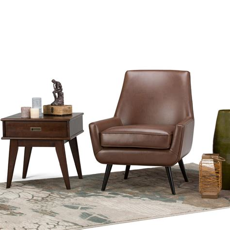 Brown Leather Accent Chair Simpli Home Warhol Saddle Brown Air Leather Accent Chair Axcchr 018 Sbr The Home Depot