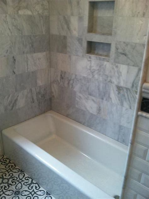 bathtub tile surround pictures by new creations in tile stone bathroom reno