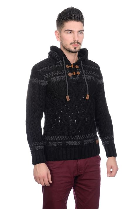 thick cable knit sweater new brad jones mens thick cable knit hooded vintage nordic