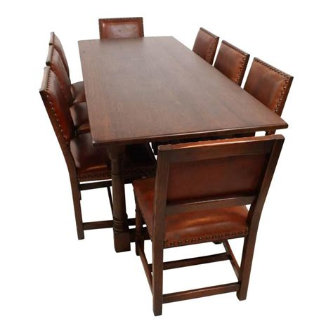 Oak Dining Room Tables For Sale Mid 20th Century Oak Dining Room Table With Eight Leather Chairs For Sale At 1stdibs
