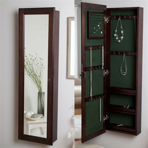 wall armoire wall mounted locking wooden jewelry armoire 14 5w x 50h in jewelry armoires at