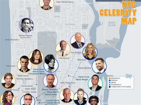 famous people living in new york star map of nyc business insider
