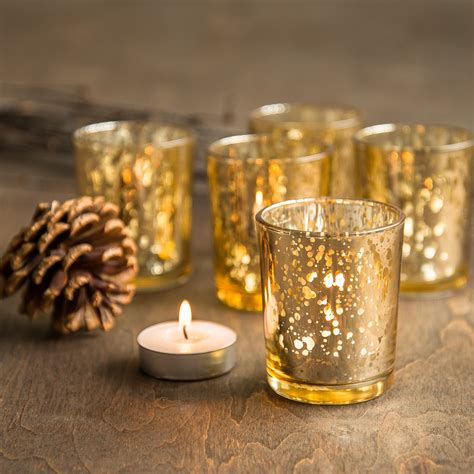 Glass Votives Set Of 48 Gold Mercury Glass Candle Votive By
