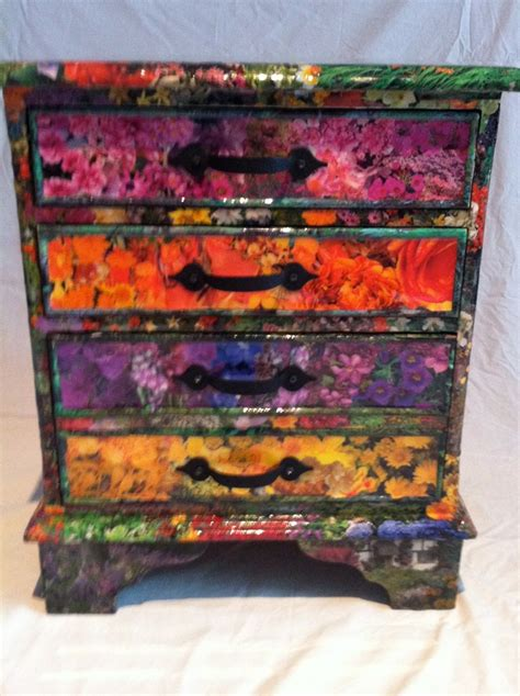 fabric decoupage dresser rhs decoupage recycled chest of drawers a sturdy but